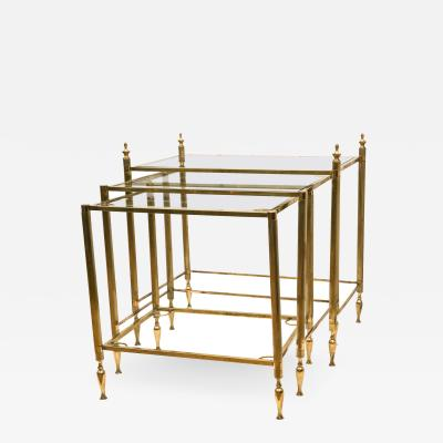 Set of French Brass Nesting Tables