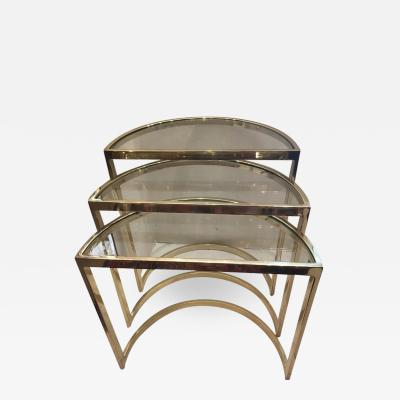 Set of Gilt Bronze Demilune Nesting Tables