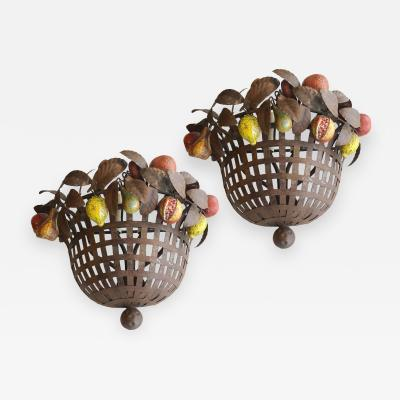Set of Iron Sconces with Fruit Sold per Pair