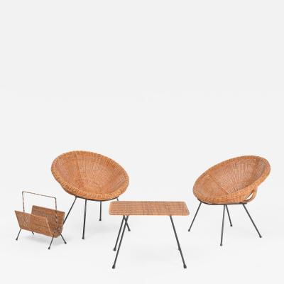 Set of Italian midcentury Rattan bowl chairs with side table and magazine rack