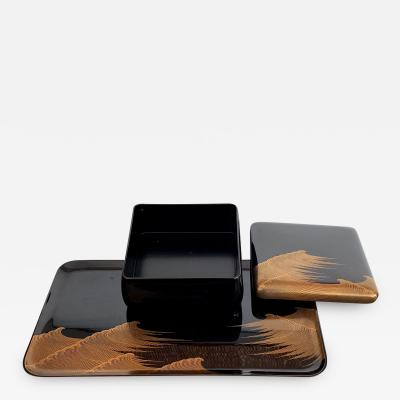 Set of Japanese Lacquer Tray and Box in Art Deco Style