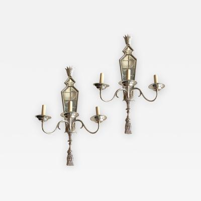 Set of Large Mirrored Sconces Sold in Pairs