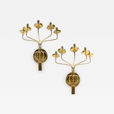 Set of Large Moderne Style 5 Arm Sconces Sold in Pairs
