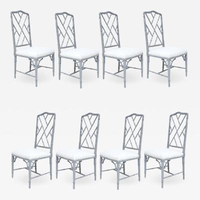 Set of Light Gray Eight Lacquered Dining Chairs