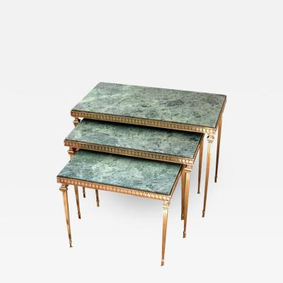 Set of Midcentury French Brass and Marble Nesting Tables