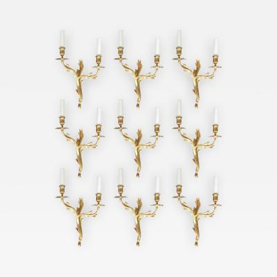 Set of Nine Brass Sconces