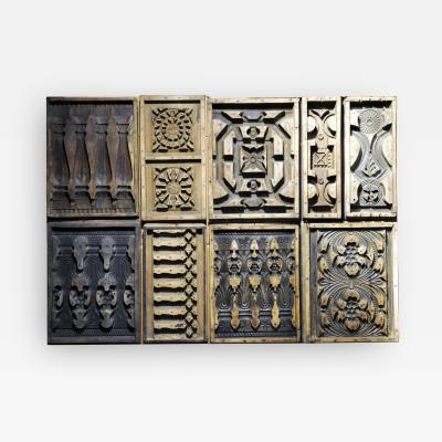 Set of Nine Wooden Cement Mold