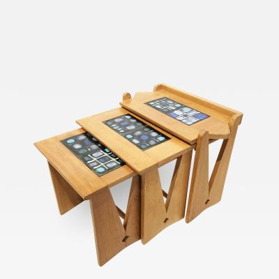 Set of Oak Nesting Tables by Guillerme et Chambron