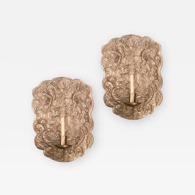 Set of Repousse Silver Sconces