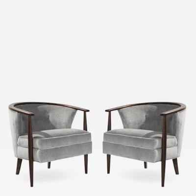 Set of Scandinavian Modern Barrel Lounge Chairs 1950s