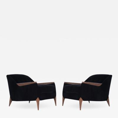 Set of Sculptural Italian Reading Lounges in Mohair 1950s