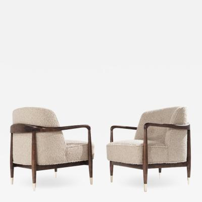 Set of Sculptural Walnut Lounge Chairs in Natural Boucl Italy 1950s
