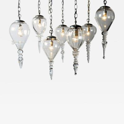 Set of Seven Hand Blown Glass Pendant Light Fixture