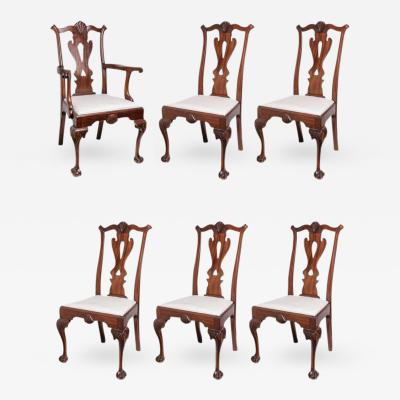 Set of Six 19th Century English Chippendale Style Mahogany Dining Chairs