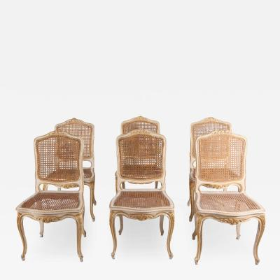 Set of Six 19th Century Ivory Painted and Parcel Gilt Chairs