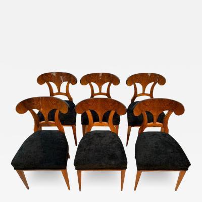 Set of Six Biedermeier Shovel Chairs Walnut Veneer South Germany circa 1860