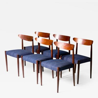 Set of Six Blue Upholstered Dining Chairs with Tapered Legs of Exquisite Form