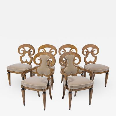 Set of Six Burled Empire Dining Chairs