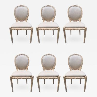 Set of Six Cerused Balloon Back Dining Chairs