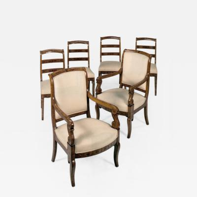 Set of Six Charles X 19th Century Inlaid Chairs