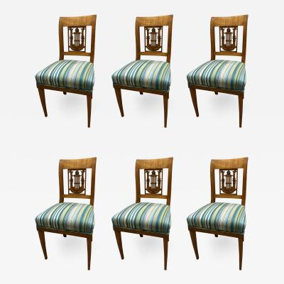 Set of Six Classicist Empire Chairs South Germany around 1810