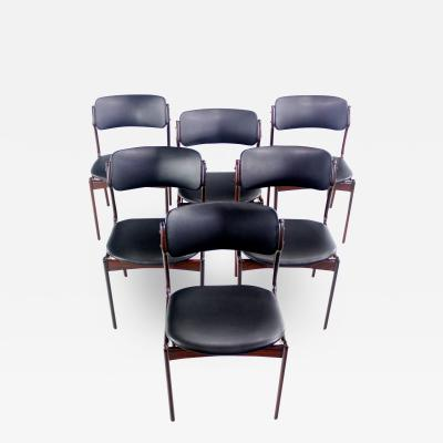 Set of Six Danish Modern Rosewood Dining Chairs by Erik Buck