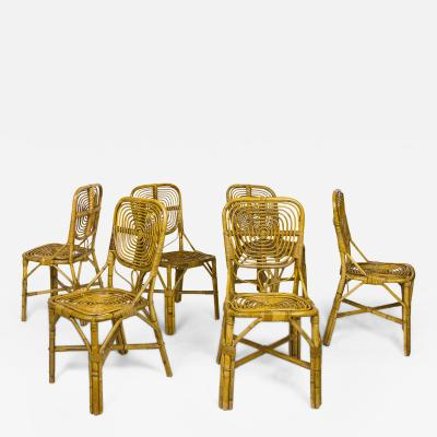 Set of Six Dining Chairs circa 1970 France
