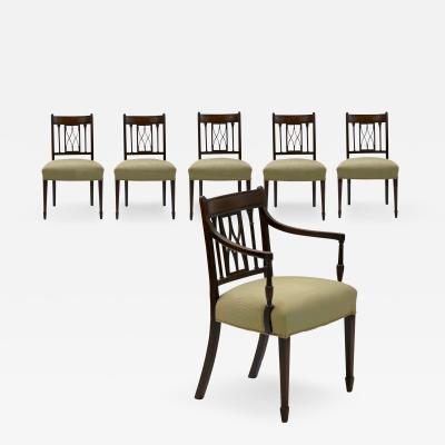 Set of Six English Regency Carved Mahogany Antique Dining Chairs circa 1800