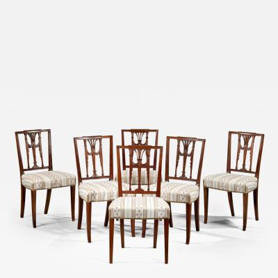Set of Six Federal Square Back Side Chairs
