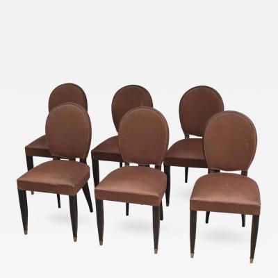 Set of Six Fine French Art Deco Ebonized Dining Chairs