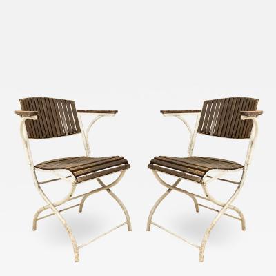 Set of Six French Art Deco Iron Folding Chairs