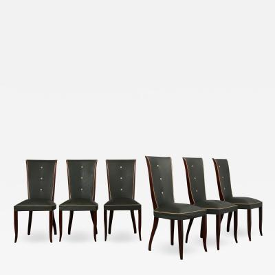 Set of Six French Art Deco Style Dining Chairs