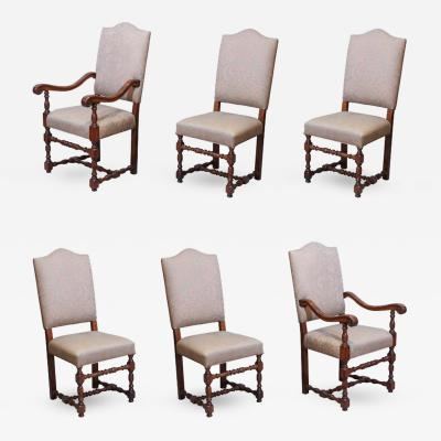 Set of Six French Louis III Style Walnut Dining Chairs Upholstered in Fortuny