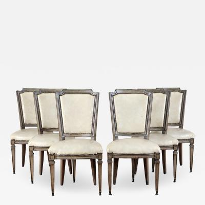 Set of Six French Louis XVI style Leather Upholstered Dining Chairs