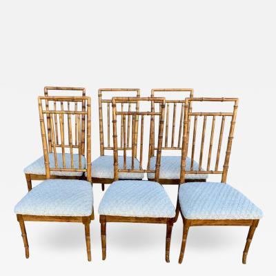 Set of Six Fruitwood Bamboo Style Dining Chairs