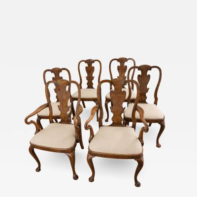 Set of Six George I Revival Walnut Dining Chairs