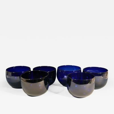 Set of Six Georgian Blue Glass Finger Bowls