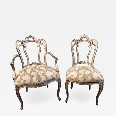 Set of Six Hollywood Regency Louis XV Style Silver Gilt Refinished Dining Chairs