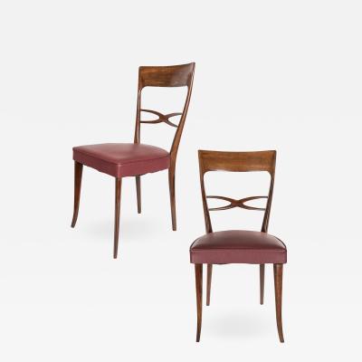 Set of Six Italian Dinning Chairs Circa 1950 s