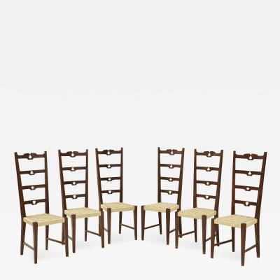 Set of Six Italian Walnut Rustic Ladder Back Chairs with Playing Card Motif