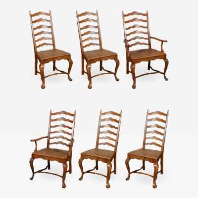 Set of Six Ladder Back Dining Chairs