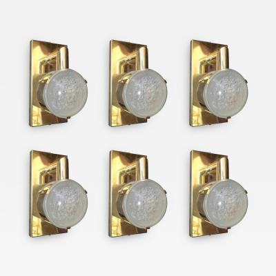 Set of Six Limited Edition Sconces w Double Frosted Murano Glass Circa 1990s