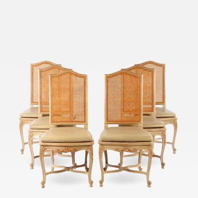Set of Six Louis XV Style High Back Caned and Painted Dining Chairs
