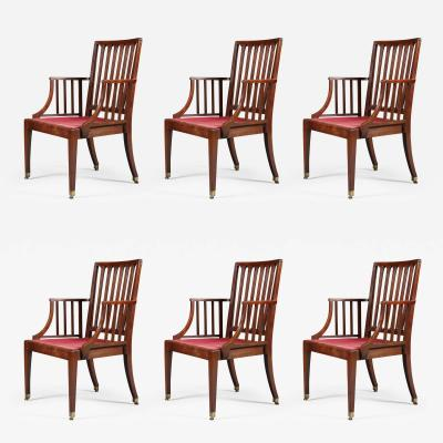 Set of Six Mahogany Armchairs