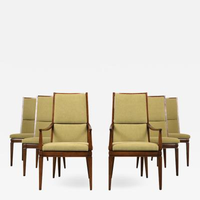 Set of Six Mid Century Modern High Back Dining Chairs