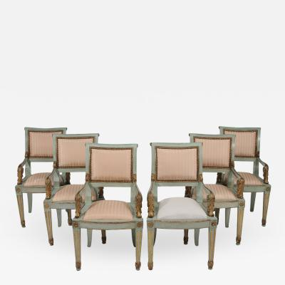 Set of Six Parcel Gilt and Painted Armchairs Italy circa 1800