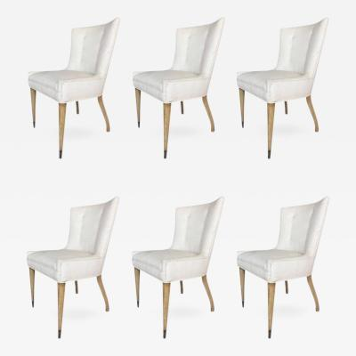 Set of Six Vintage Dining Chairs with Sculptural Lines