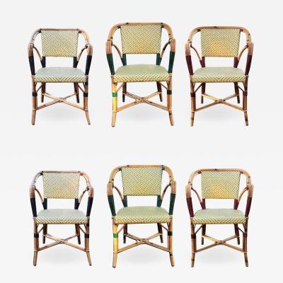 Set of Six Vintage L Drucker Bistro Armchairs