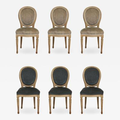 Set of Six Vintage Louis XVI Style Painted Dining Room Chairs