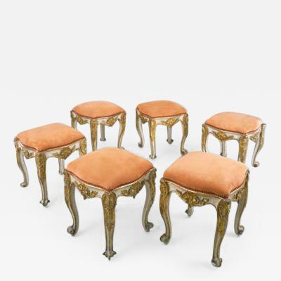 Set of Six Wood Tabourrets with original Paint and Gilding